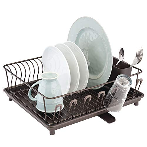 mDesign Large Metal Kitchen Countertop, Sink Dish Drying Rack - Removable Plastic Cutlery Tray, Drainboard with Adjustable Swivel Spout - 3 Pieces - BPA Free - Bronze