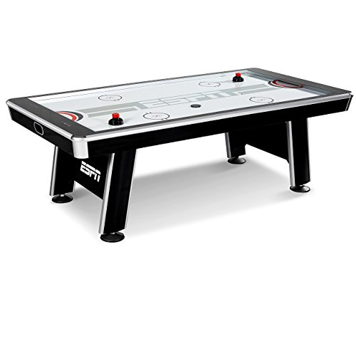 ESPN Air Hockey Arcade Game: Silver Streak Professional Sports Table Set with Equipment – 4 Pushers 4 Pucks and Touch Screen LED Score Keeper – 8 Foot