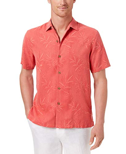 Floral Silk Camp Shirt - Tommy Bahama Luau Floral Silk Camp Shirt (Small, Red Car)