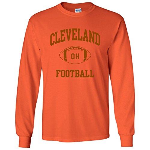 - Cleveland Classic Football Arch American Football Team Long Sleeve T Shirt - X-Large - Orange
