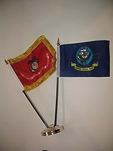 """US azul marino barco W/bandera de Marines EGA oro flecos 4""""x6"""" Juego de escritorio dorado Base colores vivos y ultravioleta resistente a la decoloración–cabecera y poliéster MATERIAL"""