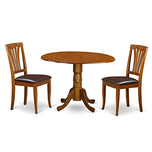 East West Furniture DLAV3-SBR-LC 3 PC Set-Dining Table and 2 Leather Kitchen Chairs 2 Piece Leather Chair