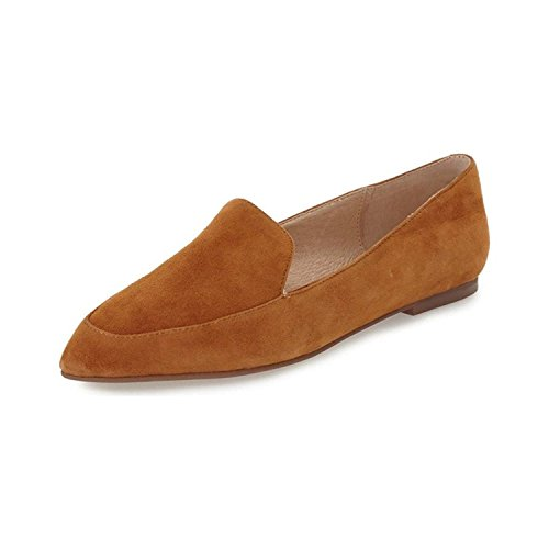YDN Women Low Heels Loafers Slip On Oxford Pointed Toe Flats Pumps Slide Shoes Tan