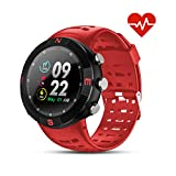 GPS Running Sport Watch,GPS Smart Watch Outdoor Waterproof Watch,Multi-Function Mode,for Tracking Running,Hiking,Heart Rate Monitor Fitness Workout Support Compatible with iOS and Android (Red)