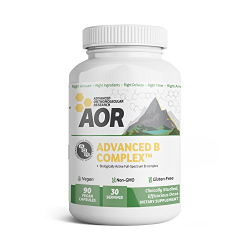 AOR - Advanced B Complex, Full-Spectrum Support to Improve Energy, Stress Response, and Nerve Function with Activated B Vitamins, Vegan, Non-GMO, Gluten-Free, 90 Capsules