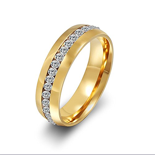 Rongxing Jewelry Stainless Steel Crystal Mens/women's Band Gold Engagement Size 9