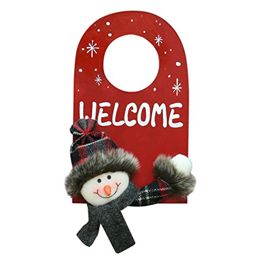 JUSTDOLIFE Christmas Door Sign, 3D Santa Snowman Deer Xmas Wall Door Knob Hanger Sign for Pub Club Shop Home (Snowman)