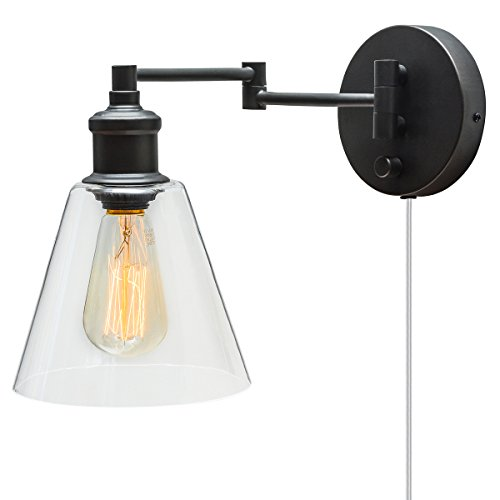 ir 1-Light Plug-In or Hardwire Industrial Wall Sconce, Dark Bronze Finish, On/Off Rotary Switch on Canopy, 6 Foot Clear Cord, 65311 ()