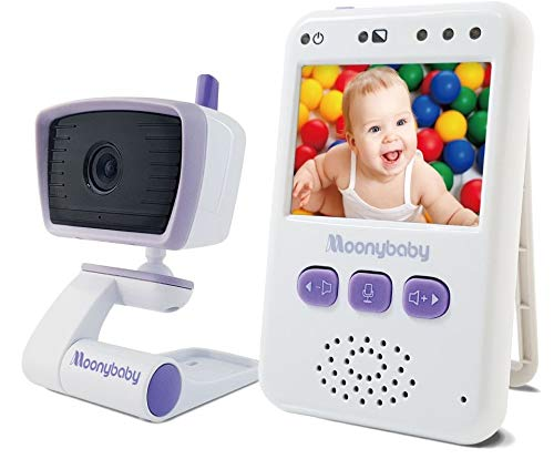 Baby Monitor with Camera and Audio by Moonybaby, Long Battery Life, Long Range, Non-WiFi, Color Screen, Auto Night Vision, 2-Way Talk Back, Zoom in, Power Saving, VOX, Voice Activation and Lullabies