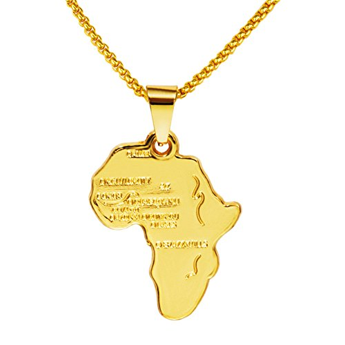 TIDOO Men's Jewelry 18k Gold Plated Hip Hop Necklace Map of Africa ()
