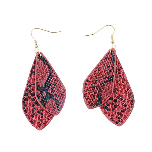 Women's Snake Pattern Drop Earrings Vintage Pu Leather Water Drop Shaped Punk Style,Red