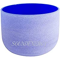 ENERGYSOUND Frosted G Throat Chakra Blue Colored Quartz Crystal Singing Bowl 10 inch