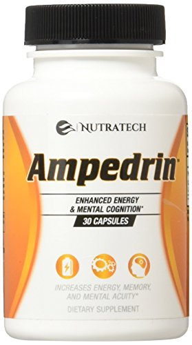Ampedrin - All Natural Brain Function and Energy Stimulant Supplement. Increase Mental Alertness, Memory, Focus, Clarity, and Energy. by Nutratech