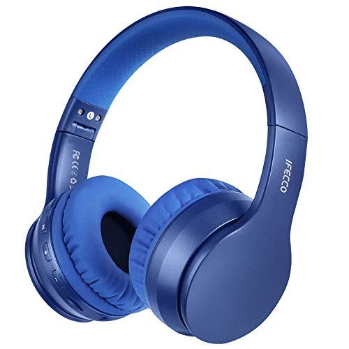 Cascos Bluetooth Diadema, Estéreo Música Auriculares Cerrados Inalámbricos Plegables HiFi con Micrófono Incorporado y Cable, Soporte Micro SD/TF/FM, para Móviles/TV/PC/MP3(Azul Marino)