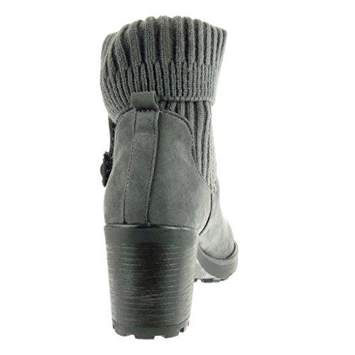 Cavalier A Grigio Donna Alto Fibbia Moda Cm Angkorly Stivaletti Tacco Scarpe 7 Blocco Scarponcini Crochet qwzHxaIR
