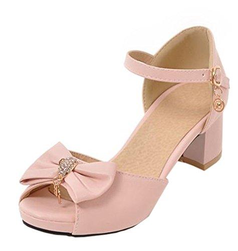 Easemax Womens Sweet Bows Medio Dikke Hak Enkel Gesp Riem Peep Toe Platform Sandalen Met Hangers Roze