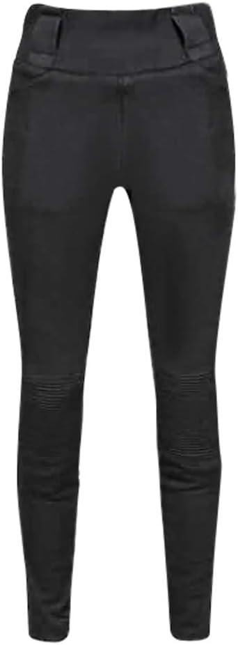 EU 34 - Largo, Negro JET Pantalones Moto Motocicleta Mujer Legging Refuerzo de Aramida Kevlar Corte Delgado Ultra Estiramiento Protectores de cadera y rodilla LUNA