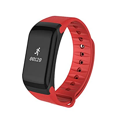 Kafuty Smart Bracelet Bluetooth Waterproof Fitness Wristband Anti-lost Reminder Activity Monitor for Blood Oxygen Pedometer Heart Rate Blood Pressure for iOS8 0 Android4 4 Red Estimated Price -