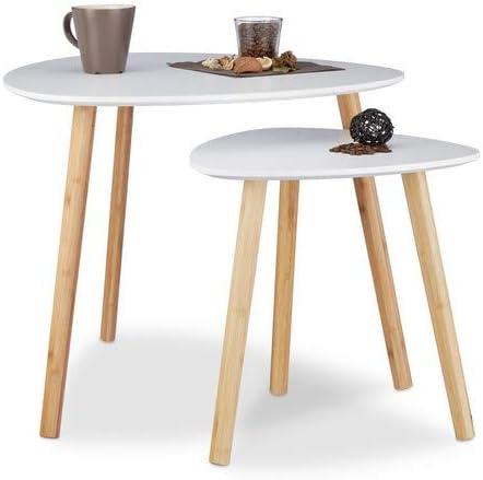 Relaxdays Table D Appoint Ronde Lot De 2 En Bois Blanc Table