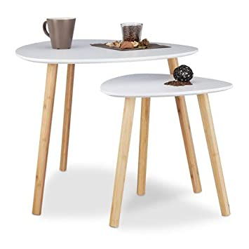 haute couture 3ee95 e70f6 Relaxdays Table d'appoint ronde lot de 2 en bois blanc table gigogne  nordique scandinave, blanc nature