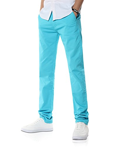 Demon&Hunter Men's Slim-Fit Ice Blue Chino Trousers S9108(36)