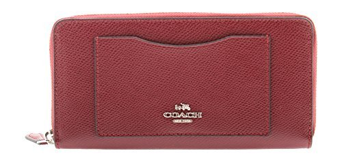 Coach Accordion Crossgrain Leather Zip Wallet in Burgundy, F54007 SV/BU by Coach