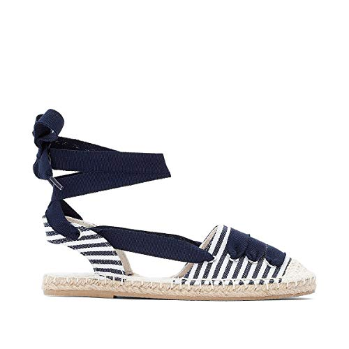 La Redoute Collections Canvas Espadrilles with Ribbon Tie Blue Size 36