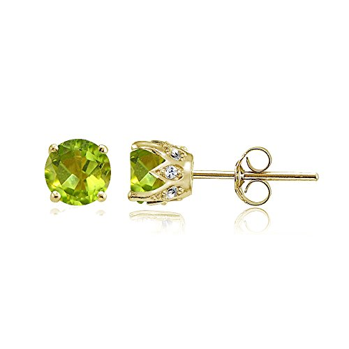 Yellow Gold Flashed Sterling Silver Genuine, Created and Simulated Gemstone and Cubic Zirconia Accents Crown Stud Earrings