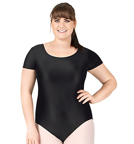 t Sleeve Dance Leotard,D5102WBLK1X,Black,1X (Adult Short Sleeve Leotard)