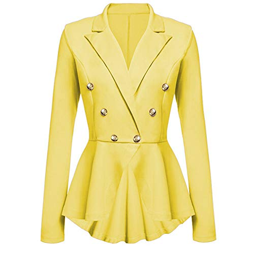 ZEFOTIM Women's Long Sleeve Blazer Ruffles Peplum Button Casual Jacket Coat Outwear(Small,Yellow)