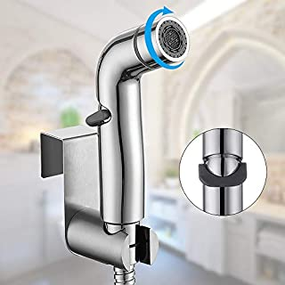 WILLSLAND Bidet Sprayer for Toilet, Handheld Bidet Toilet Sprayer Set with Dual Mode (Jet/Stream), Cloth Diaper Sprayer with Slide-and-Set Pressure Control, Chrome Bidet Toilet Attachment