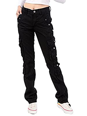 Gooket Women's Cotton Casual Straight Leg Cargo Pants with Multiple Pockets
