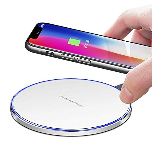 - Slick-Prints Round White Universal Qi Enabled Slim 10W Output Wireless Power Desktop Charging Pad with Led Light and Ultra-Thin Qi Receiver Module Chip for Alcatel Dawn