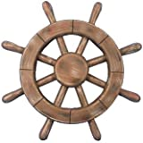 "Hampton Nautical  Rustic Wood Finish Ship Wheel, 12"""