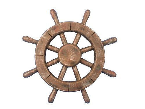 Captains Line Model Ships (Hampton Nautical  Rustic Wood Finish Ship Wheel, 12