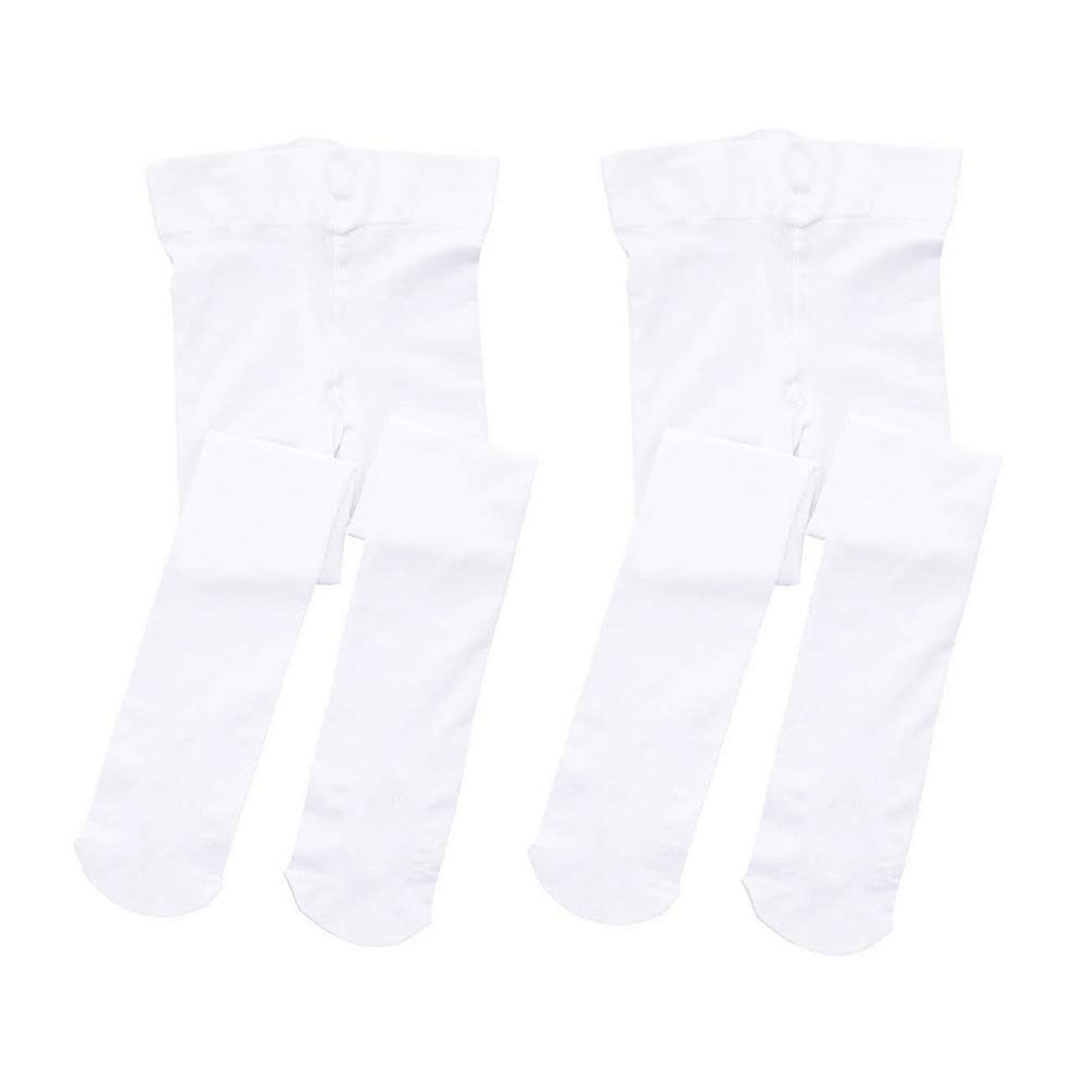 STELLE Girls' Ultra Soft Pro Dance Tight/Ballet Footed Tight (Toddler/Little Kid/Big Kid)(S, 2-Pair-White-Pack)