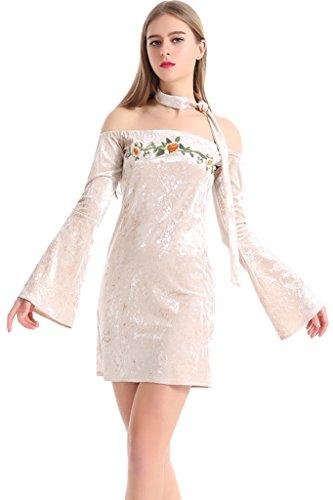 Buy bell sleeve velvet dress - 5