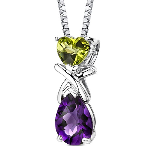 Peridot and Amethyst Pendant Necklace Sterling Silver 2.25 ()