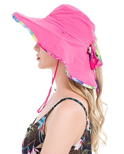 Lenikis Women's UPF50+ Sun Hat Wide Brimmed UV Protection Flap Hat with Ponytail Hole (Reversible Uv Protection Hat)