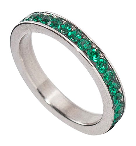 Birthstone Eternity Ring~May~Stainless Steel~Cubic Zirconia CZ Band~Emerald~Green Crystals~Stackable~Mother's Ring~Children's Ring~Women's Jewelry (10) (May Emerald Crystal)