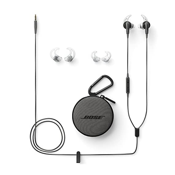 Bose SoundSport in-ear headphones for Samsung and Android devices, Charcoal 4 Deep, clear sound enhanced by exclusive TriPort technology for crisp highs and natural sounding lows.Connectivity Technology: Wired Proprietary Stay Hear tips, in three sizes, conform to your ear's shape to stay comfortably in place all day If the ear tips falling off securely attach the ear tips to the earpiece and nozzle hook to properly adhere to the ear base