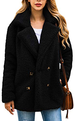 - ECOWISH Womens Double Breasted Lapel Open Front Fleece Coat with Pockets Outwear Black S