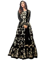 FKART Women's Latest Designer, Party Wear, Traditional, Net Heavy Embroidered Multi Color Anarkali Semi-Stitched Salwar Suit Set for Marriage and Wedding Ceremony (Premium Quality)