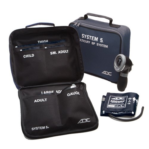 ADC Multikuf 740 5-Cuff EMT Kit with 804 Portable Palm Aneroid Sphygmomanometer, Child, Small Adult, Adult, Large Adult and Thigh Blood Pressure Cuffs (13-66 cm), Black Nylon Zipper Storage Case, Navy