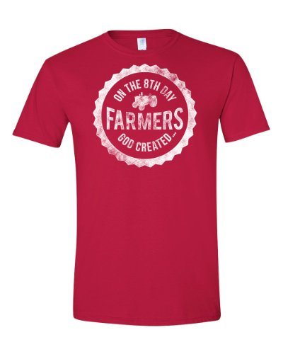 On the 8th Day God Created Farmers | God Made a Farmer Tee | Adult T-shirt (3X Large, Red)