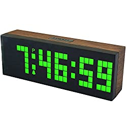 CHkosda Digital Led Clock Wall Alarm Digital Calendar Clock Count Down Timer(wood grain series, green)