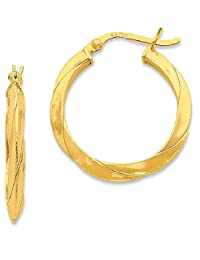 IceCarats 925 Sterling Silver Gold Flashed Knife Edged Twist 25mm Hoop Earrings Ear Hoops Set For Women