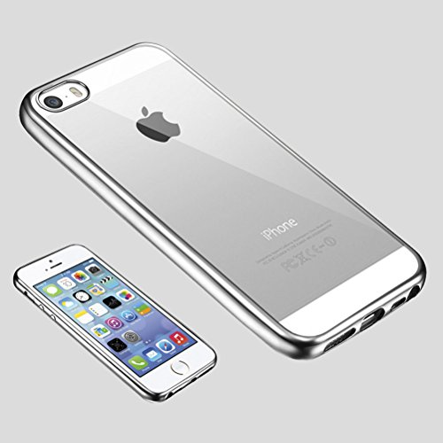 MOONCASE iPhone 5S Hülle Ultradünnen TPU Case Schutzhülle Crystal Löschen Back Silikon transparent Tasche für iPhone 5 5S Silber