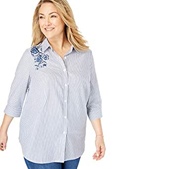 Woman Within Plus Size Printed Three-Quarter Sleeve Perfect Shirt - Royal Navy Floral Embroidery, M