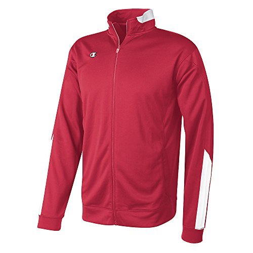 Champion Intent Knit Men's Track Jacket, L-Scarlet/White